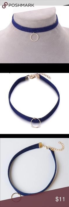 Jean Denim Blue Choker with Gold Ring Brand New Denim style Choker. Very Cute. Never been worn. No Trades and Price Firm. Brand isn't Asos, no brand. ASOS Jewelry Necklaces