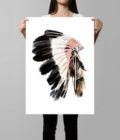 T-Shirt 3D Printed Wild West American Indian Feather Headdress Designed Element
