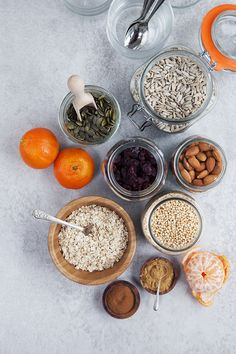 Clementine and chia pudding with a crunchy ginger spiced seed and nut topping. Perfect for breakfast or even a desert.