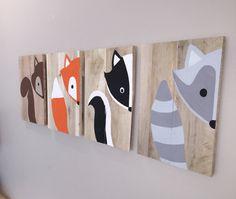 ON SALE Set of 4 woodland animals, woodland nursery, fox sign, forest animals fox nursery, raccoon, baby shower gift