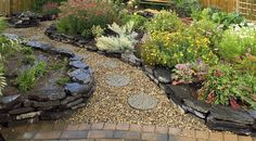 Pretty flower beds and rock path