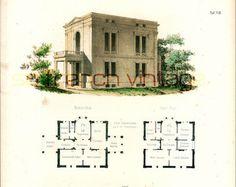 1854 Castle plans Architectural antique print by sofrenchvintage
