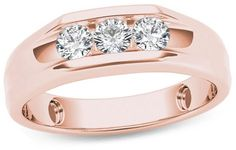 Zales Men's 1/2 CT. T.W. Diamond Three Stone Wedding Band in 14K Rose Gold