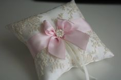 Pink Flower Girl Basket Blush Ring Bearer Pillow by AlexEmotions