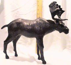 Vintage Leather Moose Figurine Statue