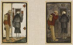 """""""The Peasant and Death and the Gates of Hell"""" by Hugo Simberg (1897); two panels."""