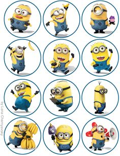 Minions topper for cupcakes                                                                                                                                                      Mais