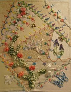 how to crazy quilt by hand Crazy Quilt Stitches, Crazy Quilt Blocks, Crazy Quilting, Silk Ribbon Embroidery, Embroidery Stitches, Embroidery Patterns, Hand Embroidery, Quilting Projects, Quilting Designs