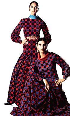 Marisa Berenson and Benedetta Barzini wearing Yves Saint Laurent. Photo by Irving Penn. Vogue Italia October 1968.