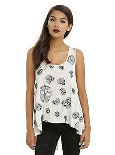 Ivory & Black Embroidered Skull Split Back Girls Tank Top, WHITE