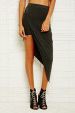Sparkle & Fade Asymmetric Skirt in Grey at Urban Outfitters