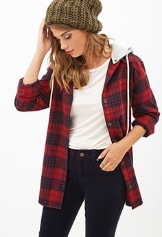 Hooded Plaid Flannel | FOREVER21 - 2000098874