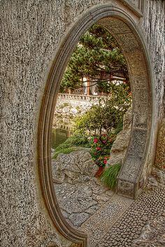 Yuyuan Gardens round stone doorway