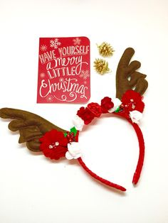 Christmas Reindeer Antler Headband - Red & White, Baby Flower Crown, Baby Christmas Halo, Christmas Hair Accessories, Baby Christmas Halo by Simpletreeboutique on Etsy https://www.etsy.com/listing/258894147/christmas-reindeer-antler-headband-red