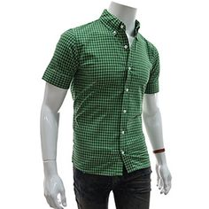 (EVSS18-GREEN) Slim Fit Checker Patched Short Sleeve Shirts