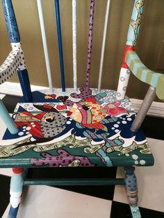 childrens rocking chair/ rocking chair/ hand made/ vintage furniture/ fun / funk Decopage Furniture, Funky Painted Furniture, Recycled Furniture, Nursery Furniture, Art Furniture, Shabby Chic Furniture, Vintage Furniture, Lounge Furniture, Painted Rocking Chairs