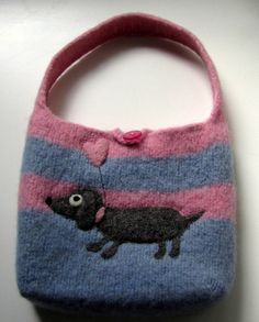 Pink and blue stripe felted tote.