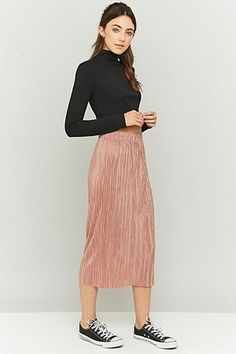 Light Before Dark Pleated Pink Midi Skirt - Urban Outfitters