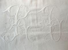 Stunning Ornate Vintage French Linen Monogram Bed Sheet RO. $159.00, via Etsy.