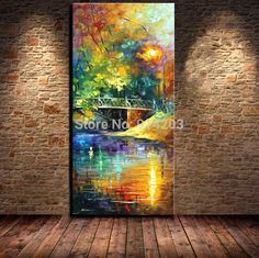 100% Hand painted Beautiful view bridge landscape knife oil painting for Living room art work
