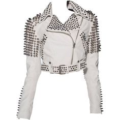 Pre-owned Burberry Brit Studded Leather Jacket ($2,500) ❤ liked on Polyvore featuring outerwear, jackets, tops, coats, coats and outerwear, waist belt, cropped leather jacket, white leather jacket, white waist belt and white jacket