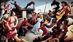 an art appreciation essay about the artist Thomas Hart Benton with many examples of his work. American Folk Music, American Artists, Thomas Hart Benton Paintings, Live Country Music, Democracy In America, Pictures Of America, Hirshhorn Museum, Art Thomas, Music Lesson Plans