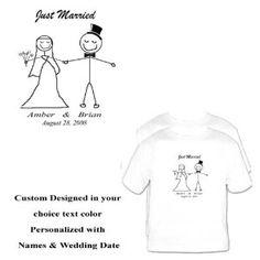 Wedding gift: 2 Just Married Wedding Honeymoon T Shirts Stick Figures TackyT Clothing