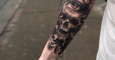 Tatuador: Ruben. Tags: categorias, Preto e Cinza, Anatomia, Caveiras, Olhos, Caveiras humanas. Partes do corpo: Antebraço interior.