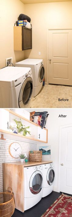 Budget Laundry Room Makeover Reveal with White Subway Tile, Black Penny Tile Floors and Wall Cabinet.
