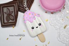 Pendant Ice cream Kawai made of polymer clay. Irina Ivanitskaya Кулон Мороженое Кавай из полимерной глины. Ирина Иваницкая