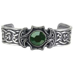 Pewter Celtic Axe Green Crystal Bangle Bracelet