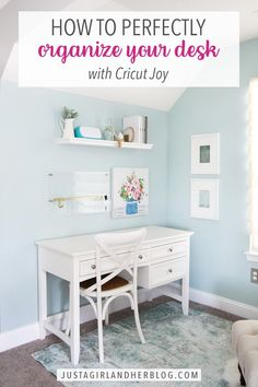 Create a super organized desk that is both functional and beautiful at the same time! Designate the perfect spot for each item using labels made with Cricut Joy + Smart Materials! | #cricutmade #homeoffice #organizeddesk Home Organisation Tips, Small Space Organization, Home Office Organization, Organizing Tips, Organization Ideas, Home Hacks, Organized Desk, Office Desk, Home Goods