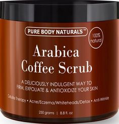 Natural Arabica Coffee Scrub with Organic Coffee, Coconut and Shea Butter - Best Acne, Anti Cellulite and Stretch Mark treatment, Spider Vein Therapy for Varicose Veins & Eczema oz) Coffee scrubs Coffee Cellulite Scrub, Coffee Face Scrub, Anti Cellulite, Best Body Scrub, Body Scrub Recipe, Varicose Vein Remedy, Varicose Veins