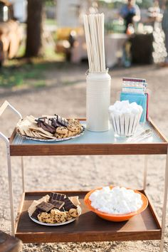 S'mores display on a Mid-Century cart for grand opening party. Rentals and styling by Birch & Brass Vintage Rentals in Austin, TX. Photography by @jchristinescott.