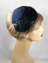 Vintage 1950s Asymmetrical Half or Clip Hat Navy Blue ...