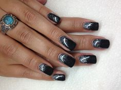 Silver Black Nails Pinterest And