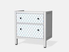 Retro Pattern - Blau für Hemnes Waschbeckenschrank 2 Schubladen - Front Bild 1