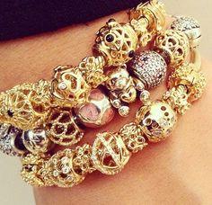 Pandora Gold and Silver bracelets