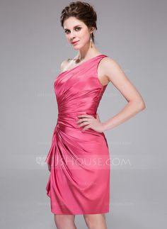 Sheath/Column One-Shoulder Knee-Length Charmeuse Cocktail Dress With Beading Cascading Ruffles (007037307)