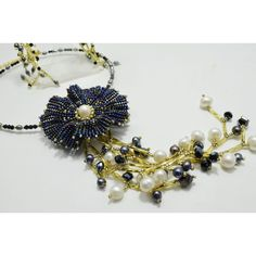 Dark Blue and Gold Jewelry Statement Flower Choker Transformer, Beaded... (€81) ❤ liked on Polyvore featuring jewelry and necklaces
