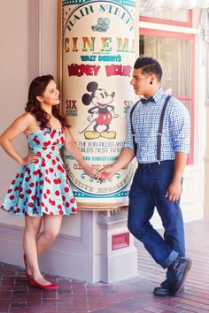 How adorable are these retro outfits? #Disneyland #MickeyMouse #suspenders