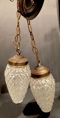 VINTAGE DIAMOND GLASS 2 PENDANT HANGING LIGHT