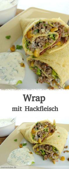 Rezept für Wrap mit Hackfleischfüllung, Salat, Speck und Mais. Dazu leckeren Knoblauch-Dip. Schmeckt der ganzen Familie. Als Snack oder zum Mittagessen. #wraps #rezept #fleisch