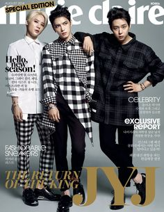 JYJ Covers Marie Claire Korea August 2014 Issue in Trendy Plaid Fashions image JYJ MCAug2014 1