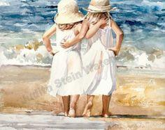 Beach Breeze is een Open Edition Giclee Art Print van een aquarel met een jong meisje, zittend op het strand kijken meeuwen. Dit is een mooie winderige dag om te zitten op de kuststroken en laat het zand uw blote voeten warm. Deze jonge miss kan niet wachten op de dag is het gewoon een beetje warmer voor een duik in de oceaan golven. Deze lente wind is nog steeds een beetje te koud voor een badpak, maar in ongeveer een maand, badpak weer spoedig hier zal zijn. De temperatuur van de Oceaan…