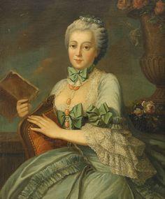 history-of-fashion:  18th c François-Hubert Drouais - Portrait of a a noblelady in blue dress