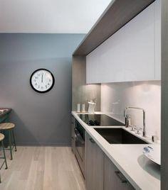 Modern Single Line White kitchen, grey cabinets