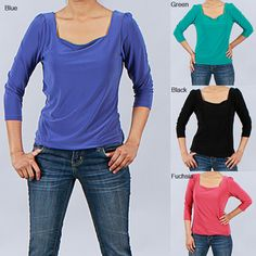 @Overstock - This simple top from Clara S features stretchable fabric construction. A square neckline and 3/4-length sleeves with slightly puffed shoulders complete this stylish top.http://www.overstock.com/Clothing-Shoes/Clara-S-Womens-3-4-sleeve-Square-Neck-Top/5899010/product.html?CID=214117 $25.49