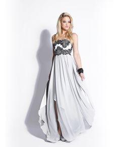 Silver & Black Embroidered Chiffon Strapless Empire Waist Prom Dress - Unique Vintage - Prom dresses, retro dresses, retro swimsuits.