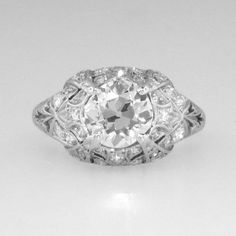 Authentic Edwardian 2.08ctw Old European Cut Diamond Engagement Ring Platinum | Antique and Estate Jewelry | JewelryFinds
